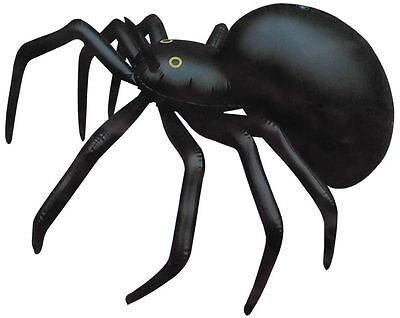 LARGE SPIDER 91CM INFLATABLE BLOW UP BLACK HALLOWEEN HUGE PARTY PROP DECORATION - Blow Up Halloween Spider