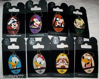 Disney Cruise Line DCL COMPLETE SET PIN LOT 8 LUGGAGE TAGS Mickey Minnie Pluto