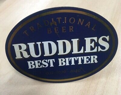 RUDDLES BEST BITTER ALE BEER TAP PUMP PLAQUE With CLIP MAN CAVE HOME