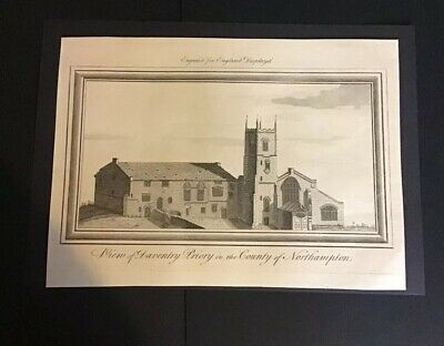 """England Displayed Print Of View of """"Daventry Priory""""  County Of Northampton"""