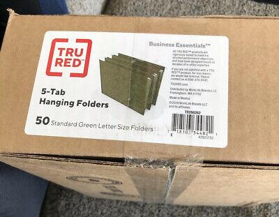 Staples Hanging File Folders 5-tab Letter Standard Green 50box 266262 New