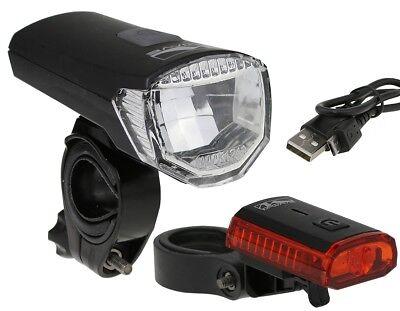 Fahrradbeleuchtung Set StVZO LED Scheinwerfer Akku & USB Ladekabel, Rücklicht