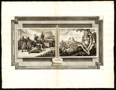 Rare Antique Print-AFRICA-ANGOLA-NATIVES-SACRIFICE-ORANGUTAN-Van der Aa-1725