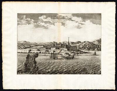 Rare Antique Print-AFRICA-GHANA-FORT ELMINA-S GEORGE-VOC-Pieter Van der Aa-1725