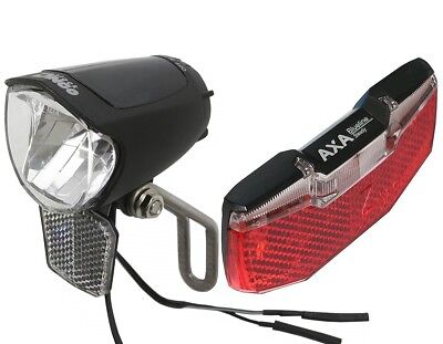 LED Fahrrad-Lampen Set Nabendynamo 75 Lux Standlicht & Rücklicht AXA BLUELINE