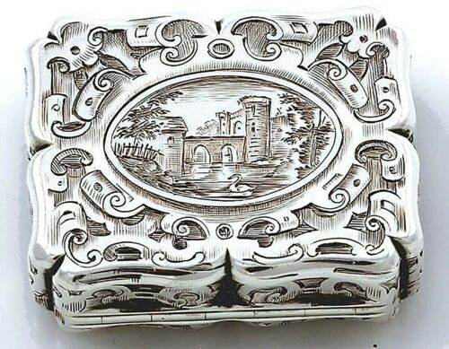 English Silver VINAIGRETTE Engraved Scene Rawlings & Sumner 1847