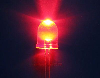 10 Pcs 10mm 10000mcd Led Lamp Ultra Bright Red Light Diy New Free Shipping