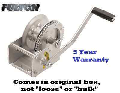 FULTON HIGH-PERFORMANCE AUTOMATIC SELF-ACTIVATING 1500 lb BRAKE WINCH CABLE BOAT