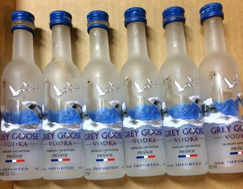 Lot Of 6 Grey Goose Vodka  Mini Liquor Bottles Glass Empty 50mL Used