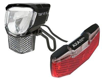 LED Fahrrad-Lampen Set Nabendynamo 45 Lux Standlicht & Rücklicht AXA BLUELINE - Lampe Standlicht Set