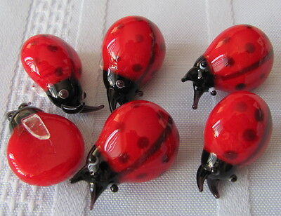 Lot of 10 Glass Ladybugs with glass clips add to the leaf leaves of your plants