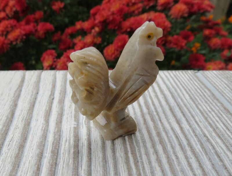 Roster carved stone, roster stone, figurine stone, carved stone animal, roster