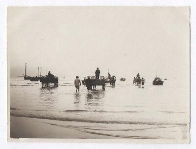 Photo ancienne berck sur mer 1929 bord de pêche poisson barque bateau marée