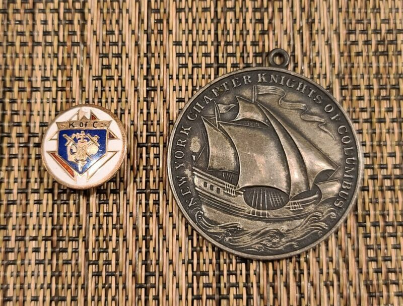 Knights of Columbus New York Sterling Silver Medal 1 Mile Relay & Screw-on Pin