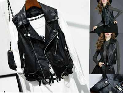 Ladies Vintage Coats Slim Faux Leather Waistcoat Gilet Biker Sleeveless Jacket