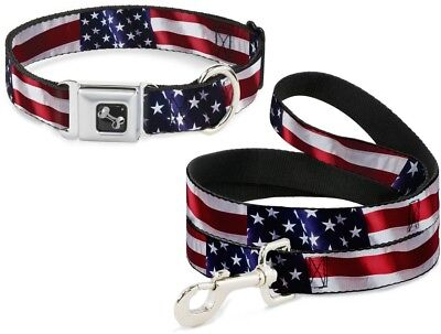 Buckle Down Seatbelt Dog Collar or Leash - Vivid US Flag S M L - Made in USA