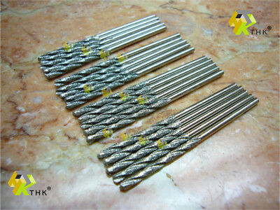 20 pieces 1.5MM THK Diamond coated twist drill bit drills bits glass jewelry ()