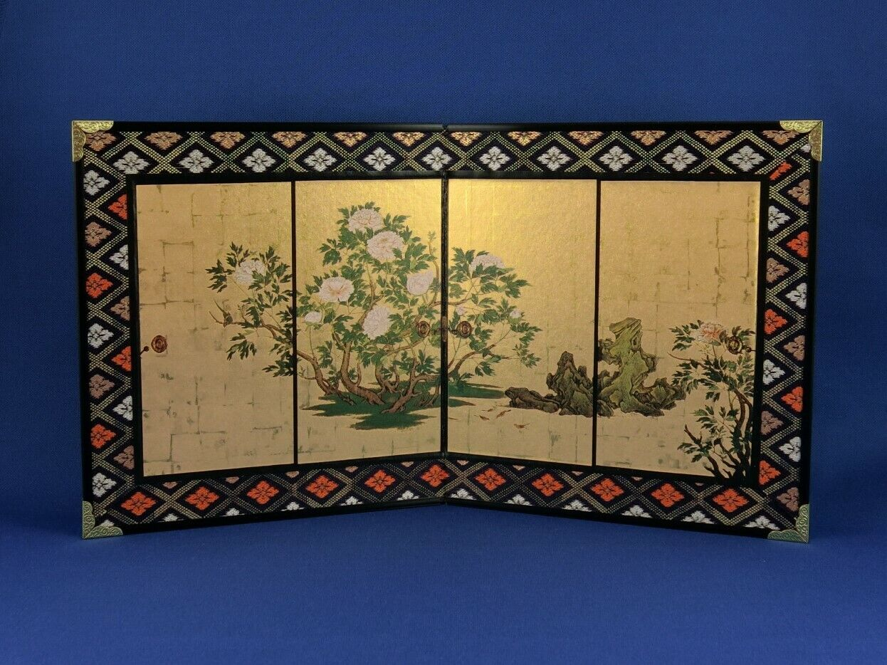 mini BYOBU folding screen Botanzu Fusuma Peonies, Siebdruck, H.16 cm