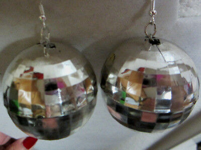 NORA WINN BLING 70's and 80's SILVER DISCO BALL COSTUME 925 Hook EARRINGS](80s Disco Ball)