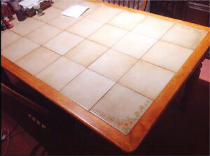 Solid wood and tile table