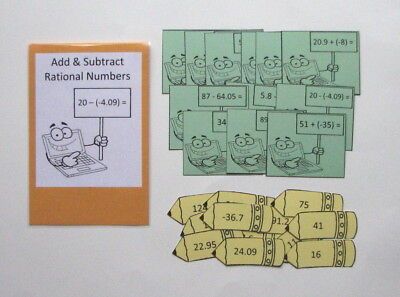 Teacher Made Math Learning Resource Center Game Add Subtract Rational Numbers