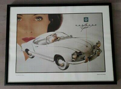 Volkswagen VW Karmann Ghia 1958 Vintage Poster PARC VW Licensed Reprint Framed