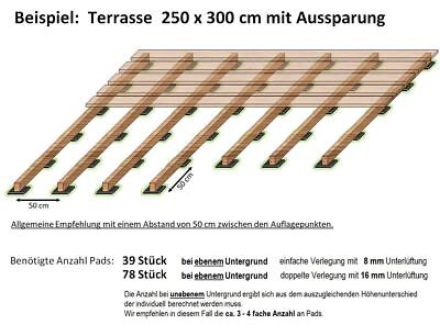 1a Terrassenpad 100x100x8 Wpc Patio Decking Substructure Backing Pad