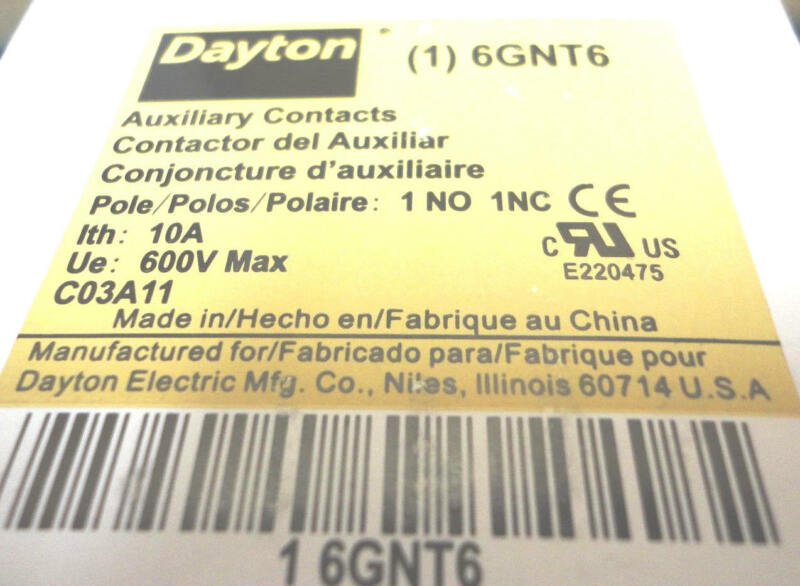 10a Dayton 6GNT6 Aux Contacts Definite Purpose Contact Block 1NO 1NC Contactor