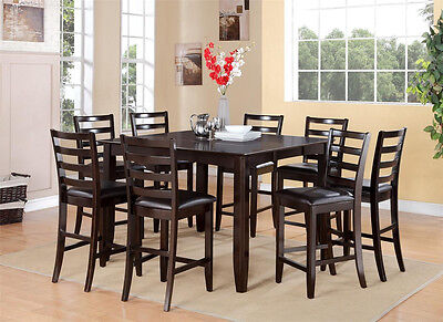 7PC DINETTE COUNTER HEIGHT SET INCLUDE TABLE & 6 LEATHER SEAT CHAIRS, CAPPUCCINO