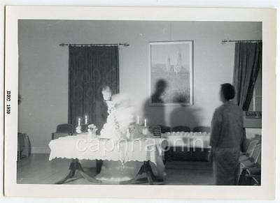 Dreamy Blurry Bride and Groom Shadows Wedding Cake Table Vintage 1959 Photo - Bride And Groom Table