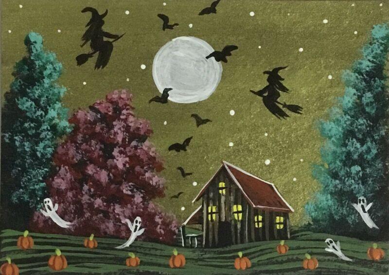 ACEO Original Halloween Acrylic Sketch Card gab