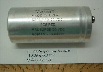1 New Electrolytic Capacitor 5500mfd 45vdc Mallory801645 Lot 208 Made In Usa