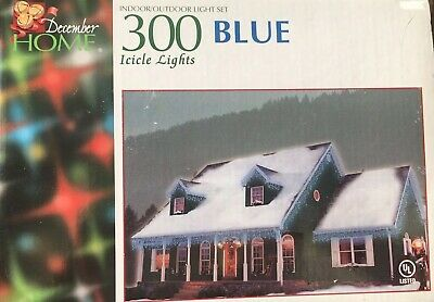 300 Blue Icicle Indoor/Outdoor Lights Christmas New December Home