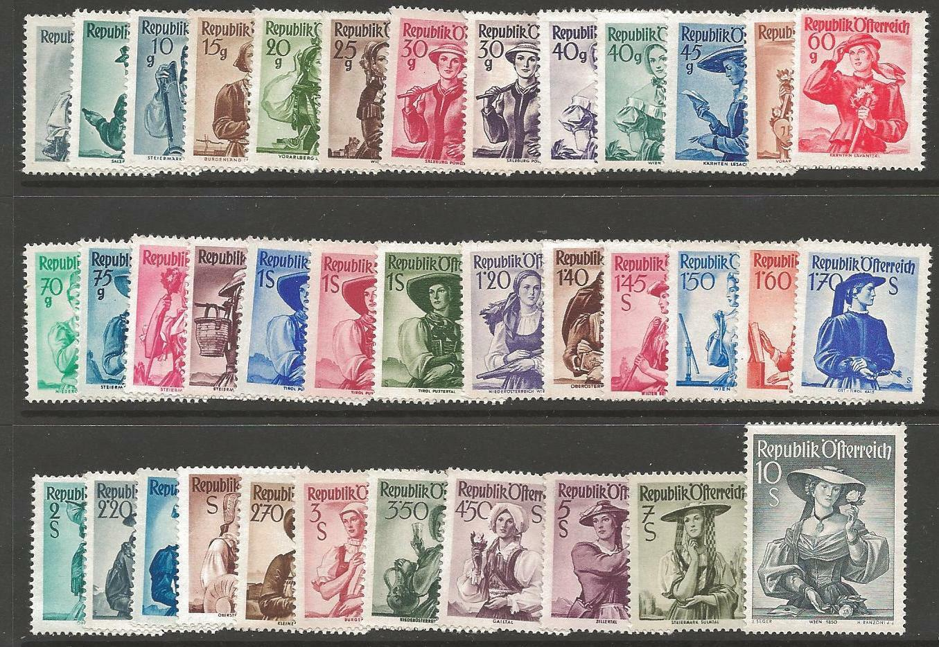 AUSTRIA SG1108/44 1948-52 DEFINITIVE SET MNH