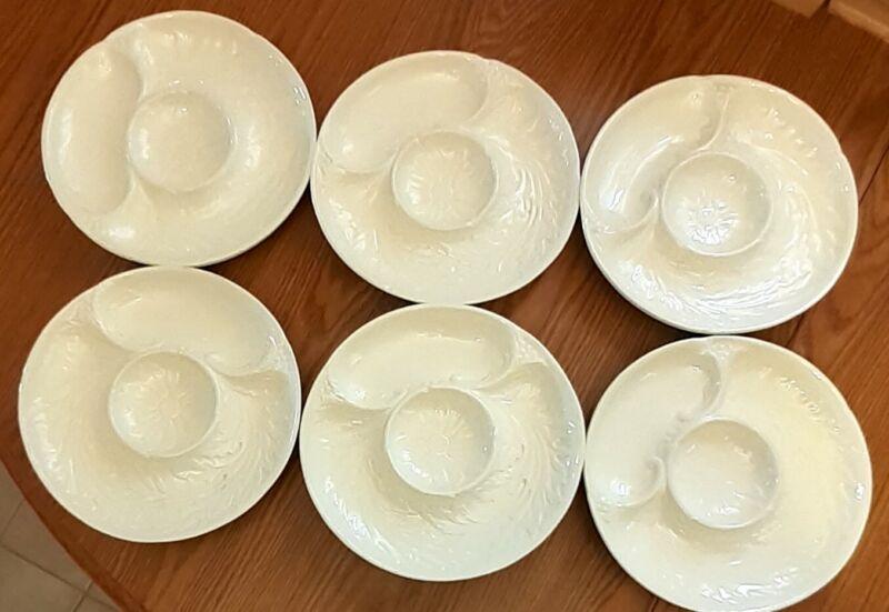 Divided PLATTER LOT: 6 ERPHILA Czechoslovakia Porcelain Relish Appetizer Plates