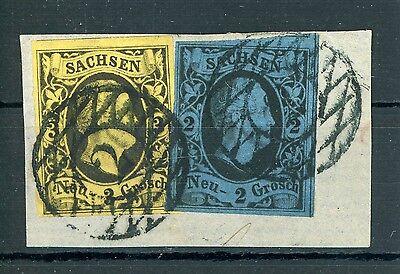 """Sachsen: Mi.Nr.6 + 7 gestempelt """"2"""" auf Briefstück, Befund Vaatz BPP"""