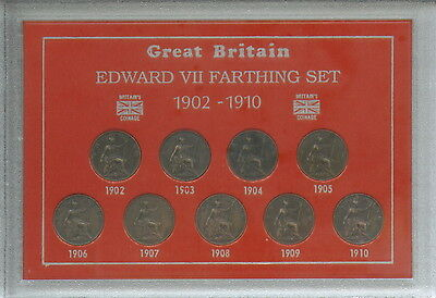 1902-1910 King Edward VII Farthings Farthing GB Coin Gift Set Collection in Case