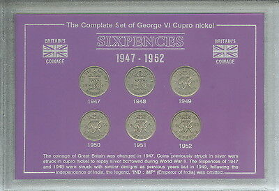 1947-1952 King George VI Sixpence Sixpences Coin Collector Collection Gift Set