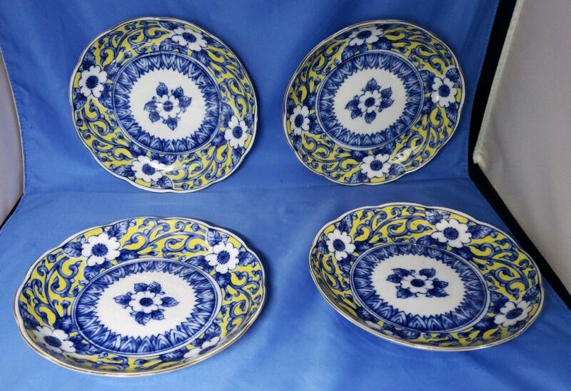 vintage blue & white & yellow porcelain plates floral scalloped edge