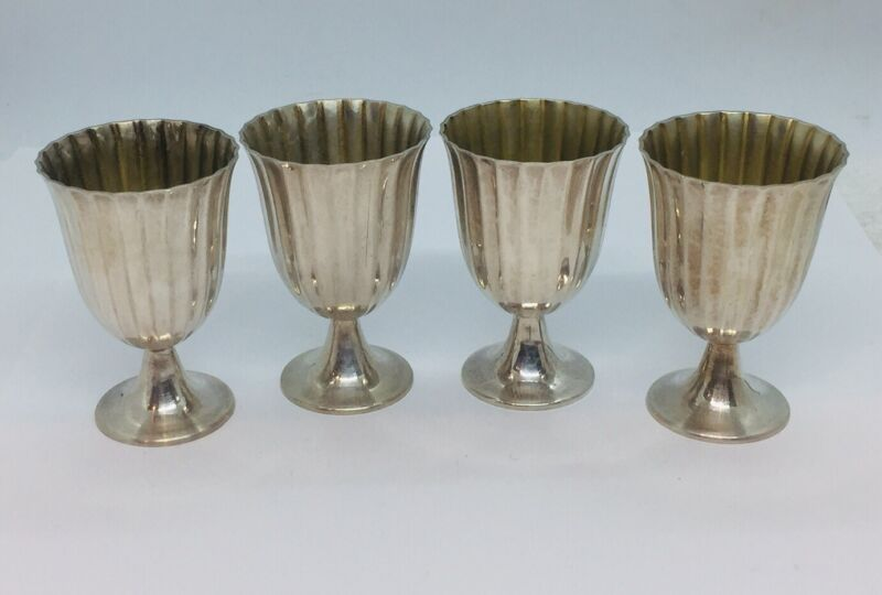 Tiffany & Co. Vintage Set Of 4 Sterling Silver Cordial Shot Cups