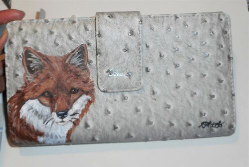 Red Fox Animal Hand Painted Designer Wallet for Women Vegan Leather