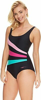Zoggs Sandon Pink Jade Mix Swimming Costume Bust Bum Support UK 8-22 RRP £42