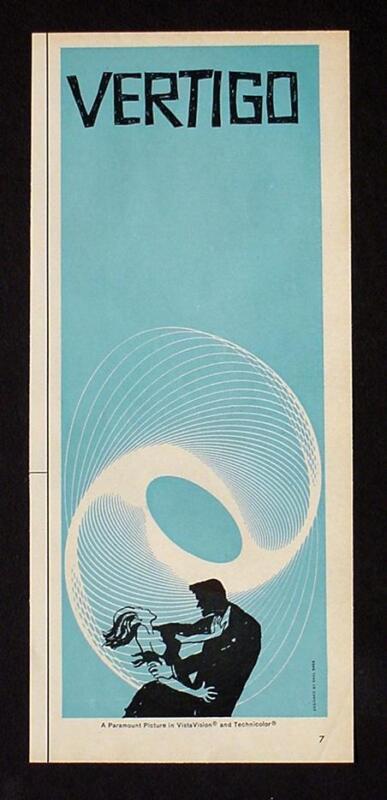 1958 VERTIGO MOVIE POSTER AD MEGA RARE 1/2 PAGE BLUE Alfred Hitchcock Saul Bass!