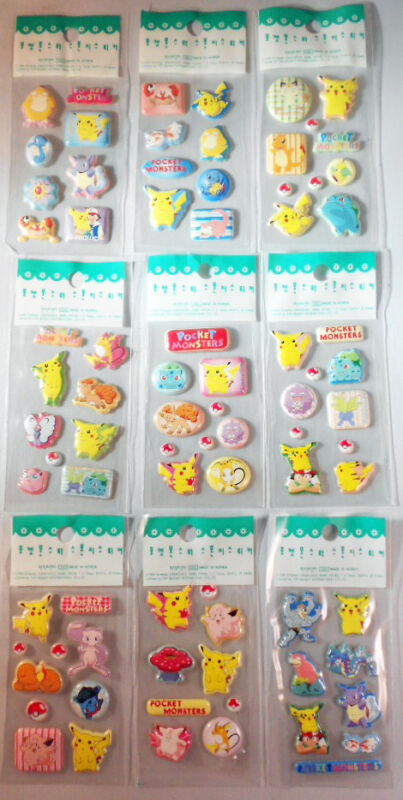 Pokemon Stickers 3D puffy Stickers Licensed By Nintendo 9 sheets vintage