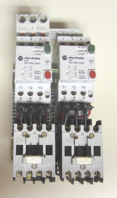 LOT OF (2) Allen-Bradley 140-MN-0160 Motor Starters (2) 100-A09ND3 Contactors
