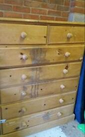 Solid pine chest of drawers. Shabby chic/upcycling project