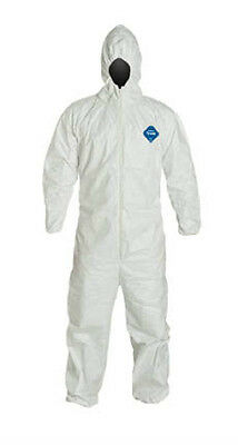 Large Dupont Ty127s Tyvek Protective Coverall With Hood Elastic Wrist Ankle