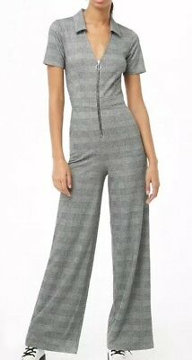 Forever 21 Glen Plaid Pull Ring Wide Leg Jumpsuit One Piece Gray Black S NEW (Plaid Ring)