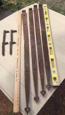 Deliver 4' ANTIQUE Forged Iron Primitive Farm Barn Door Gate Spear Strap Hinge