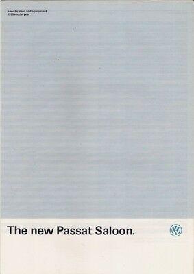 Volkswagen Passat Saloon Specification 1989-90 UK Market Foldout Brochure